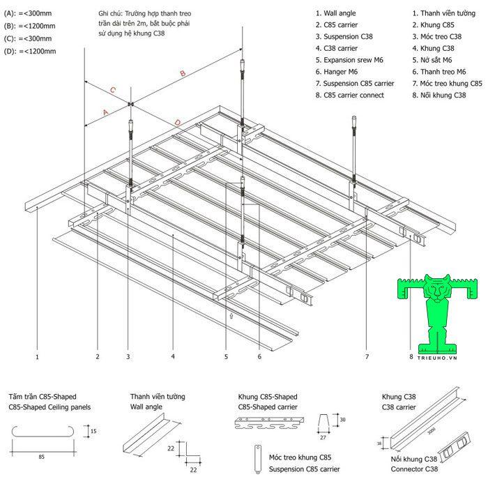 Quy cách lắp đặt trần nhôm sọc C85 đơn giản và dễ thi công