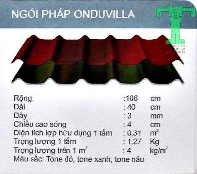 Thông số kĩ thuật ngói pháp Onduvilla