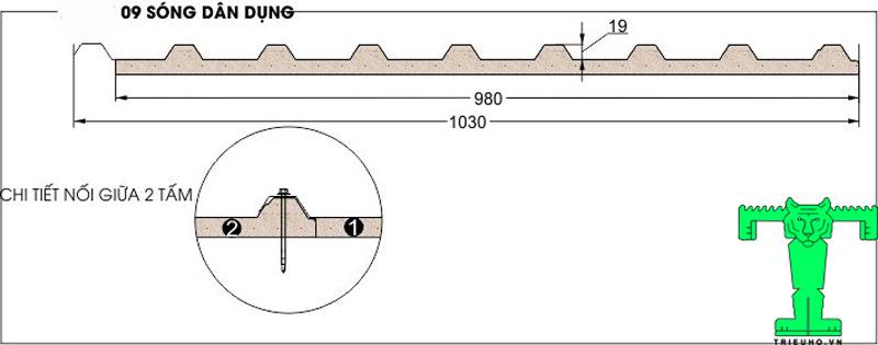 Thông số Tôn Chống Nóng, Tôn PU, Tôn 3 Lớp (Tôn Xốp Tôn) - 9 Sóng
